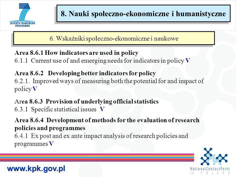 www.kpk.gov.pl 6. Wskaźniki społeczno-ekonomiczne i naukowe Area 8.6.1 How indicators are used in policy 6.1.1 Current use of and emerging needs for i