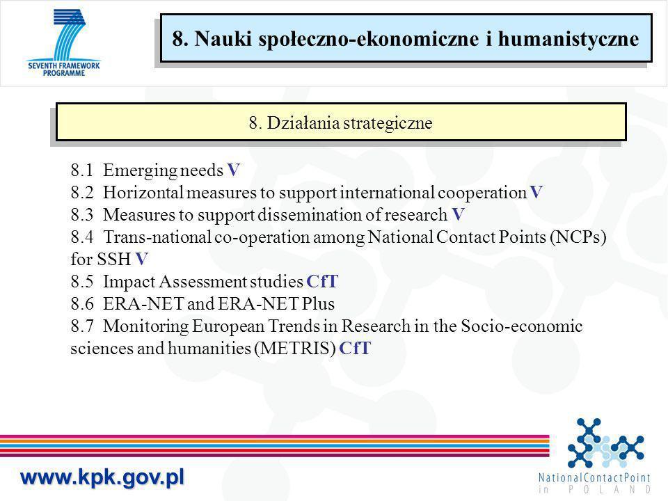 www.kpk.gov.pl 8.1 Emerging needs V 8.2 Horizontal measures to support international cooperation V 8.3 Measures to support dissemination of research V