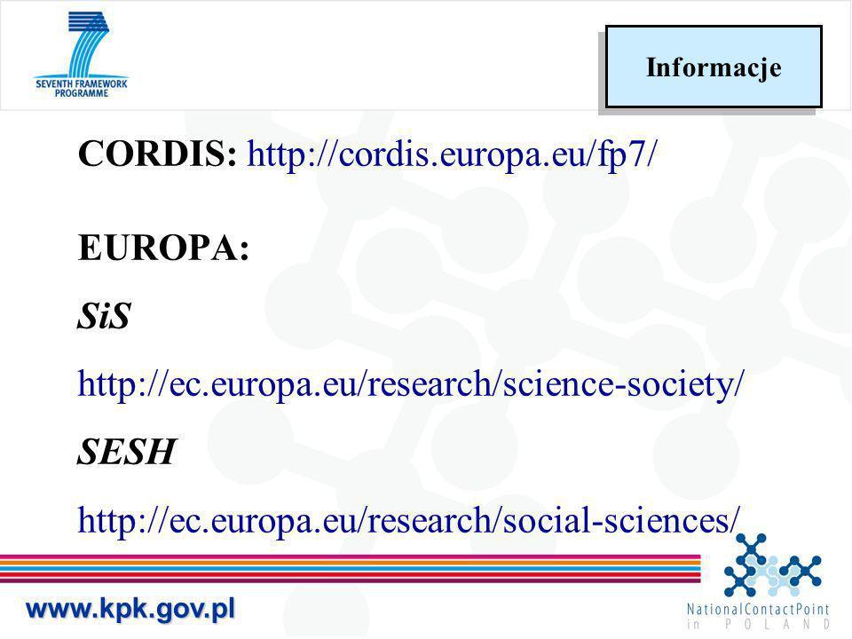 CORDIS: http://cordis.europa.eu/fp7/ EUROPA: SiS http://ec.europa.eu/research/science-society/ SESH http://ec.europa.eu/research/social-sciences/ www.