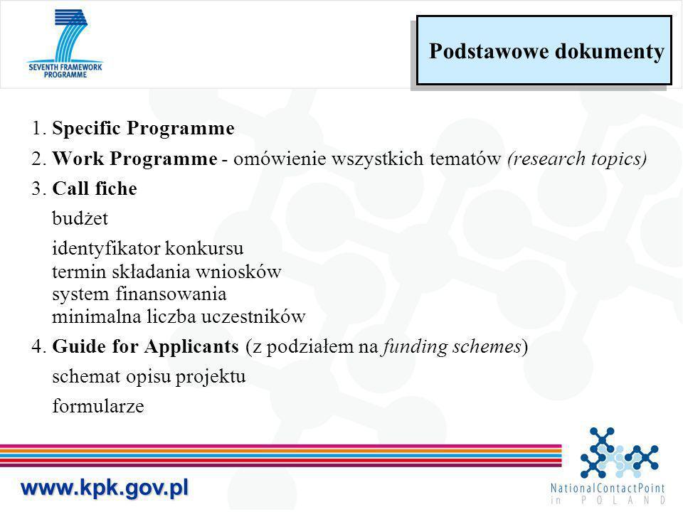 1. Specific Programme 2. Work Programme - omówienie wszystkich tematów (research topics) 3. Call fiche budżet identyfikator konkursu termin składania