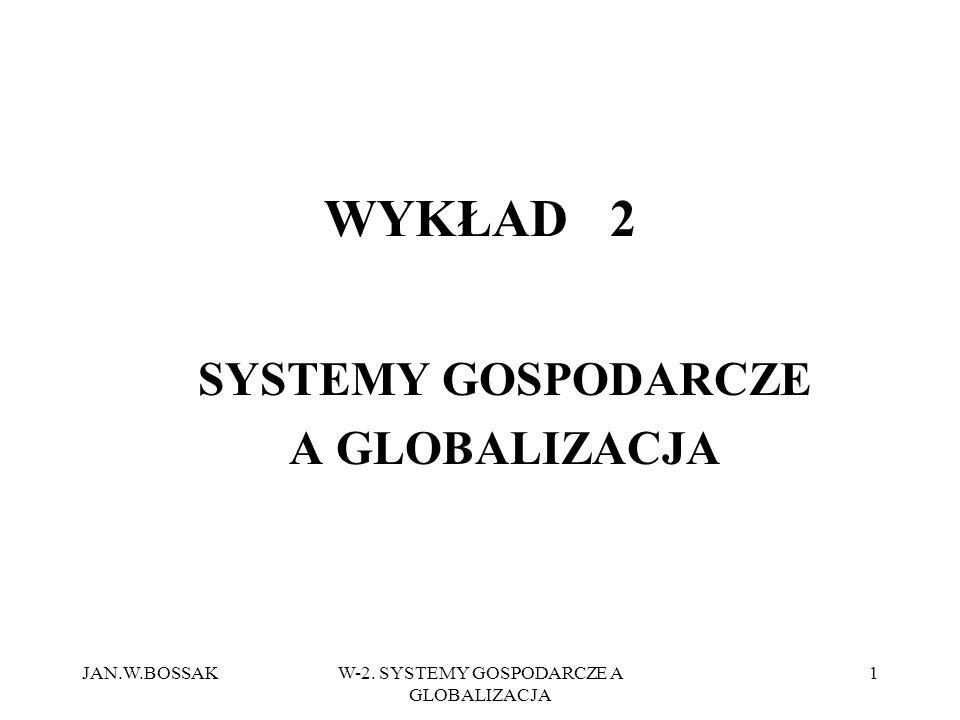 JAN.W.BOSSAKW-2. SYSTEMY GOSPODARCZE A GLOBALIZACJA 1 WYKŁAD 2 SYSTEMY GOSPODARCZE A GLOBALIZACJA