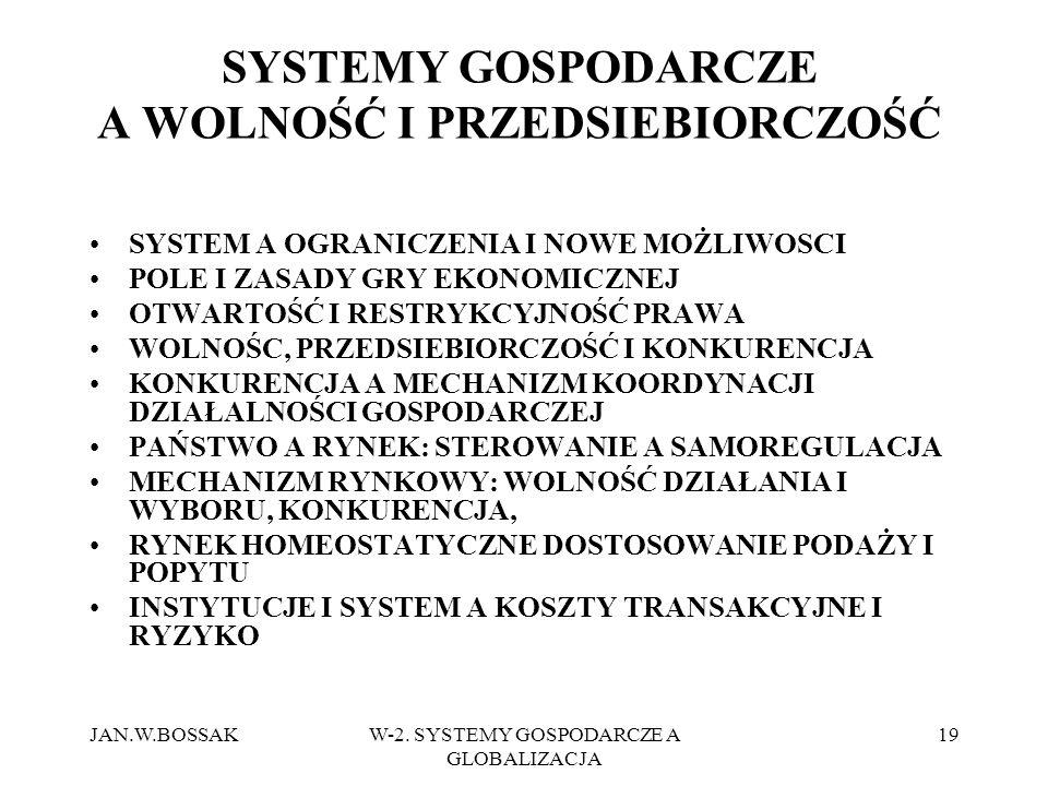 JAN.W.BOSSAKW-2. SYSTEMY GOSPODARCZE A GLOBALIZACJA 19 SYSTEMY GOSPODARCZE A WOLNOŚĆ I PRZEDSIEBIORCZOŚĆ SYSTEM A OGRANICZENIA I NOWE MOŻLIWOSCI POLE