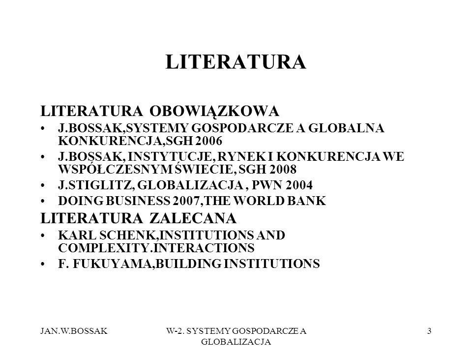 JAN.W.BOSSAKW-2. SYSTEMY GOSPODARCZE A GLOBALIZACJA 3 LITERATURA LITERATURA OBOWIĄZKOWA J.BOSSAK,SYSTEMY GOSPODARCZE A GLOBALNA KONKURENCJA,SGH 2006 J