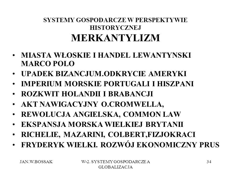 JAN.W.BOSSAKW-2. SYSTEMY GOSPODARCZE A GLOBALIZACJA 34 SYSTEMY GOSPODARCZE W PERSPEKTYWIE HISTORYCZNEJ MERKANTYLIZM MIASTA WŁOSKIE I HANDEL LEWANTYNSK