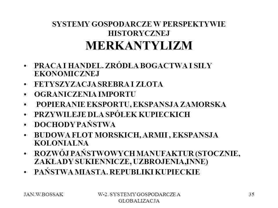 JAN.W.BOSSAKW-2. SYSTEMY GOSPODARCZE A GLOBALIZACJA 35 SYSTEMY GOSPODARCZE W PERSPEKTYWIE HISTORYCZNEJ MERKANTYLIZM PRACA I HANDEL. ZRÓDŁA BOGACTWA I