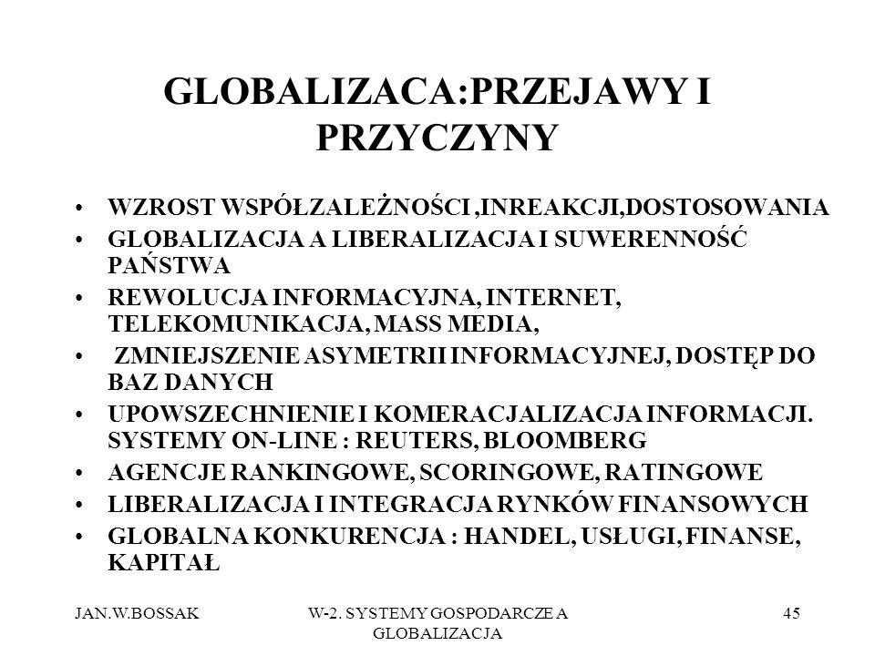 JAN.W.BOSSAKW-2. SYSTEMY GOSPODARCZE A GLOBALIZACJA 45 GLOBALIZACA:PRZEJAWY I PRZYCZYNY WZROST WSPÓŁZALEŻNOŚCI,INREAKCJI,DOSTOSOWANIA GLOBALIZACJA A L