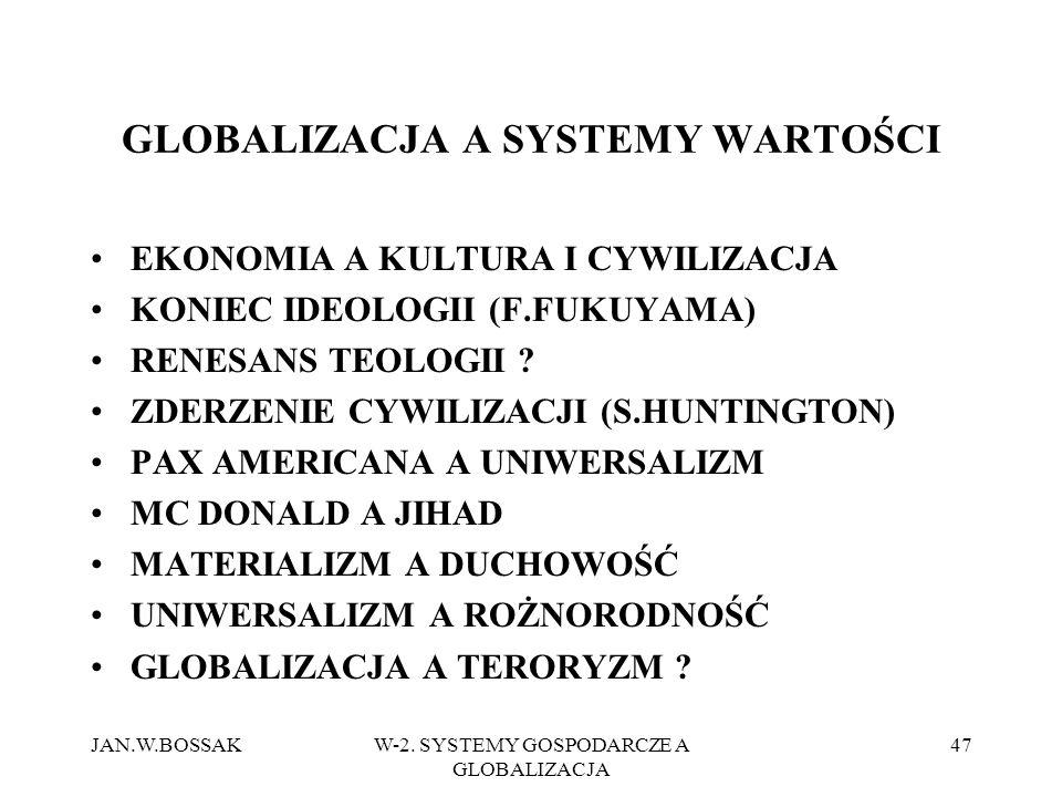 JAN.W.BOSSAKW-2. SYSTEMY GOSPODARCZE A GLOBALIZACJA 47 GLOBALIZACJA A SYSTEMY WARTOŚCI EKONOMIA A KULTURA I CYWILIZACJA KONIEC IDEOLOGII (F.FUKUYAMA)