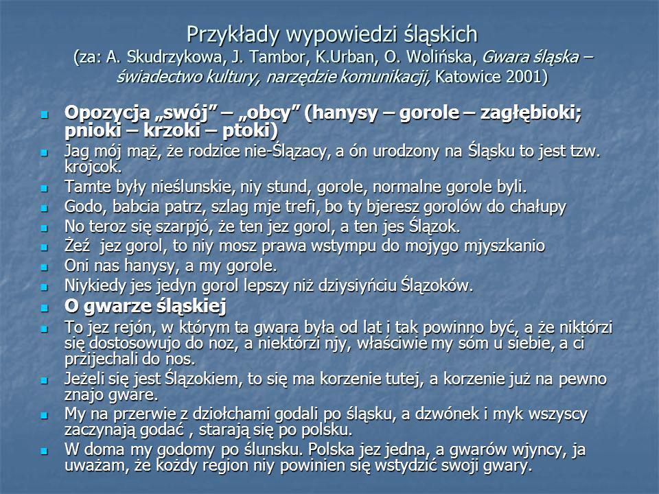 Przykłady wypowiedzi śląskich (za: A. Skudrzykowa, J. Tambor, K.Urban, O. Wolińska, Gwara śląska – świadectwo kultury, narzędzie komunikacji, Katowice