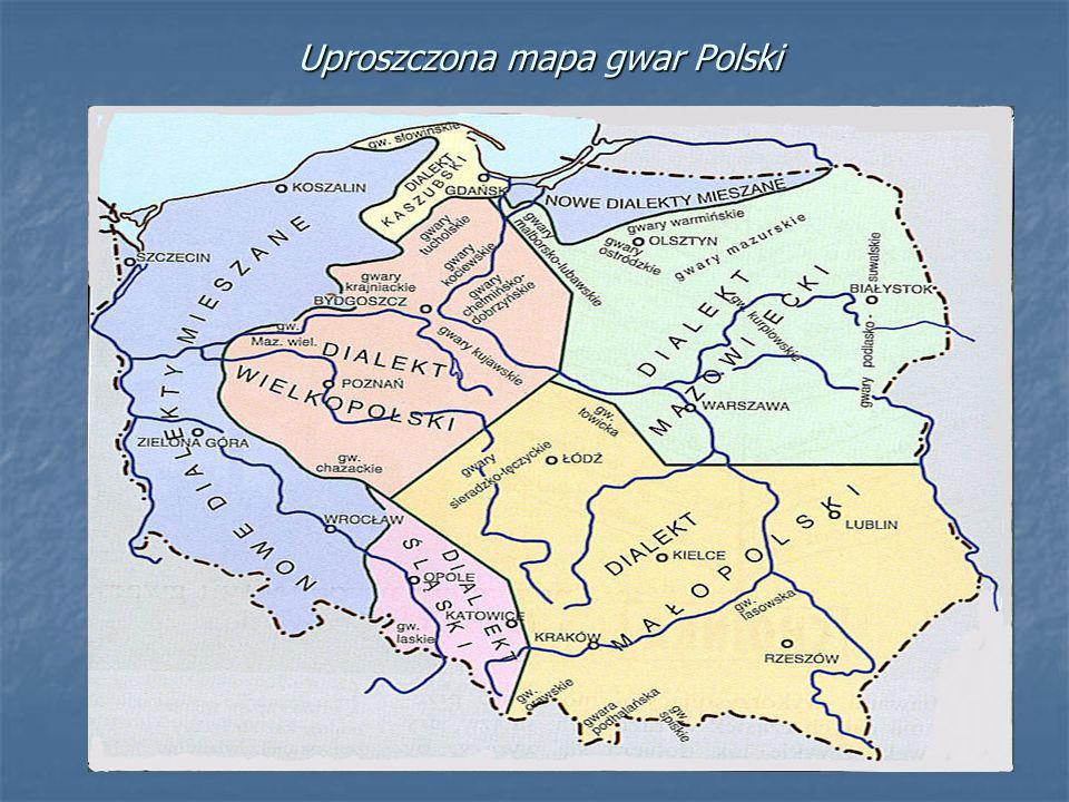 Mapa gwar Polski wg S. Urbańczyka