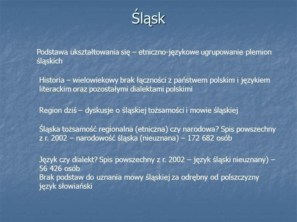 Śląsk Podstawa ukształtowania się – etniczno-językowe ugrupowanie plemion śląskich Historia – wielowiekowy brak łączności z państwem polskim i językie