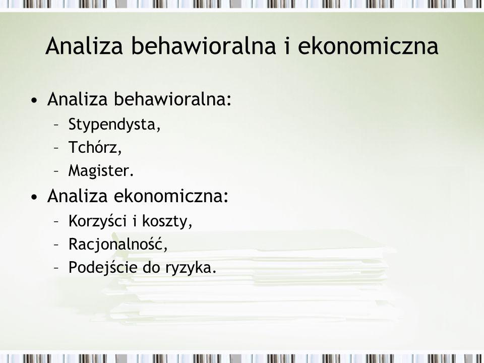 Analiza behawioralna i ekonomiczna Analiza behawioralna: –Stypendysta, –Tchórz, –Magister. Analiza ekonomiczna: –Korzyści i koszty, –Racjonalność, –Po