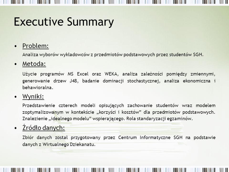 Executive Summary Problem: Analiza wyborów wykładowców z przedmiotów podstawowych przez studentów SGH. Metoda: Użycie programów MS Excel oraz WEKA, an