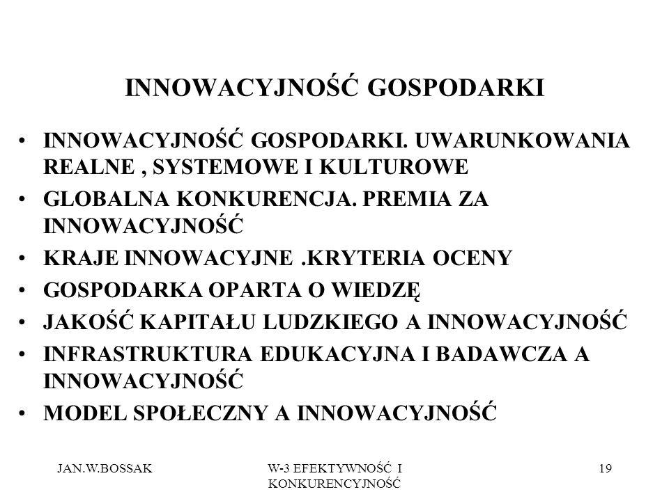 JAN.W.BOSSAKW-3 EFEKTYWNOŚĆ I KONKURENCYJNOŚĆ 19 INNOWACYJNOŚĆ GOSPODARKI INNOWACYJNOŚĆ GOSPODARKI.