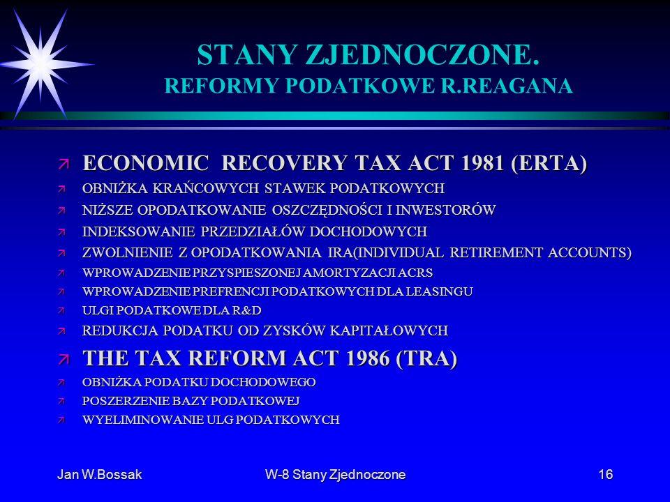 Jan W.BossakW-8 Stany Zjednoczone16 STANY ZJEDNOCZONE. REFORMY PODATKOWE R.REAGANA ä ECONOMIC RECOVERY TAX ACT 1981 (ERTA) ä OBNIŻKA KRAŃCOWYCH STAWEK