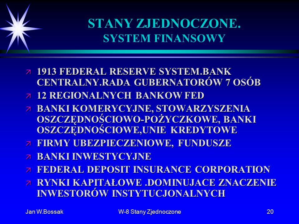 Jan W.BossakW-8 Stany Zjednoczone20 STANY ZJEDNOCZONE. SYSTEM FINANSOWY ä 1913 FEDERAL RESERVE SYSTEM.BANK CENTRALNY.RADA GUBERNATORÓW 7 OSÓB ä 12 REG