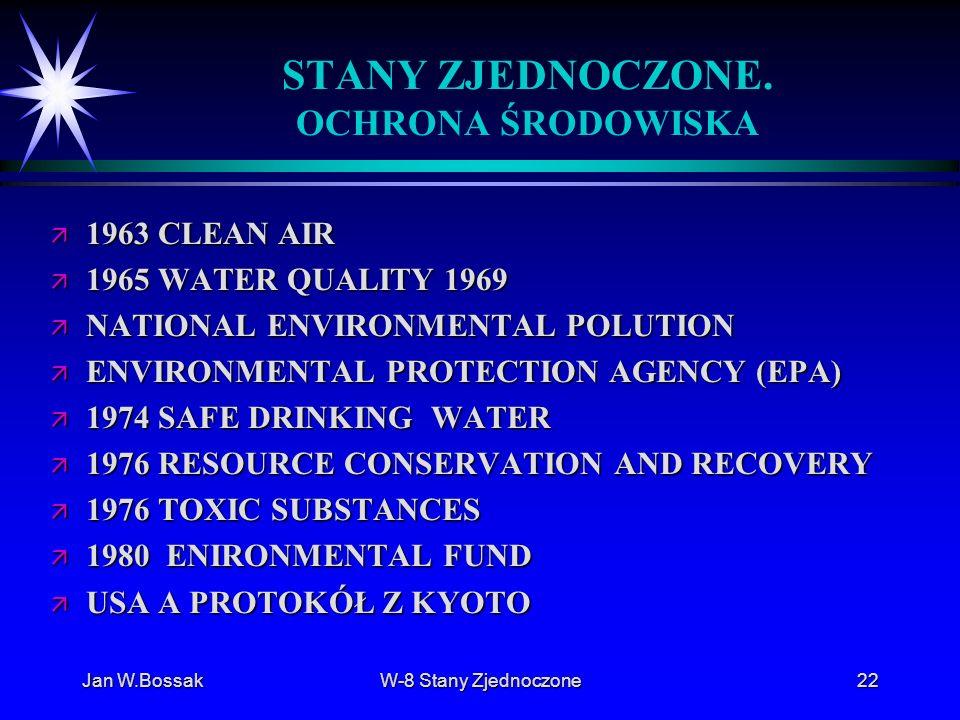 Jan W.BossakW-8 Stany Zjednoczone22 STANY ZJEDNOCZONE. OCHRONA ŚRODOWISKA ä 1963 CLEAN AIR ä 1965 WATER QUALITY 1969 ä NATIONAL ENVIRONMENTAL POLUTION