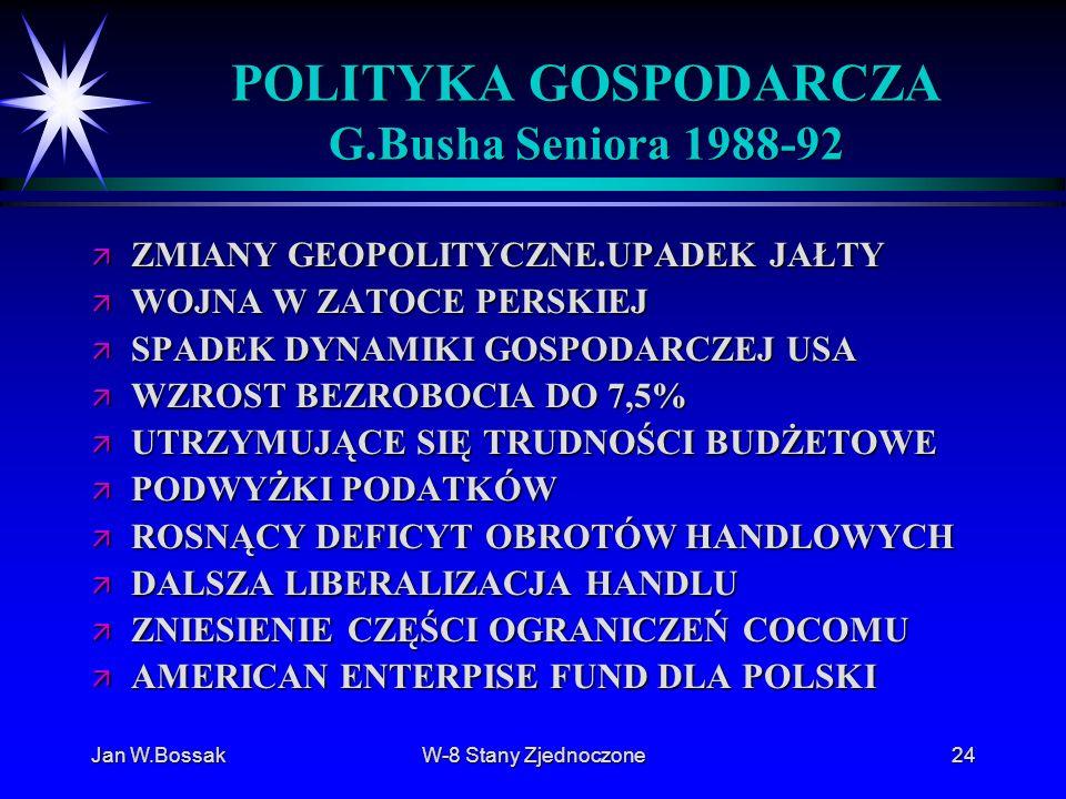 Jan W.BossakW-8 Stany Zjednoczone24 POLITYKA GOSPODARCZA G.Busha Seniora 1988-92 ä ZMIANY GEOPOLITYCZNE.UPADEK JAŁTY ä WOJNA W ZATOCE PERSKIEJ ä SPADE