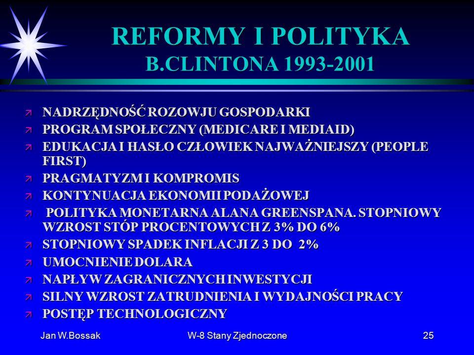 Jan W.BossakW-8 Stany Zjednoczone25 REFORMY I POLITYKA B.CLINTONA 1993-2001 ä NADRZĘDNOŚĆ ROZOWJU GOSPODARKI ä PROGRAM SPOŁECZNY (MEDICARE I MEDIAID)