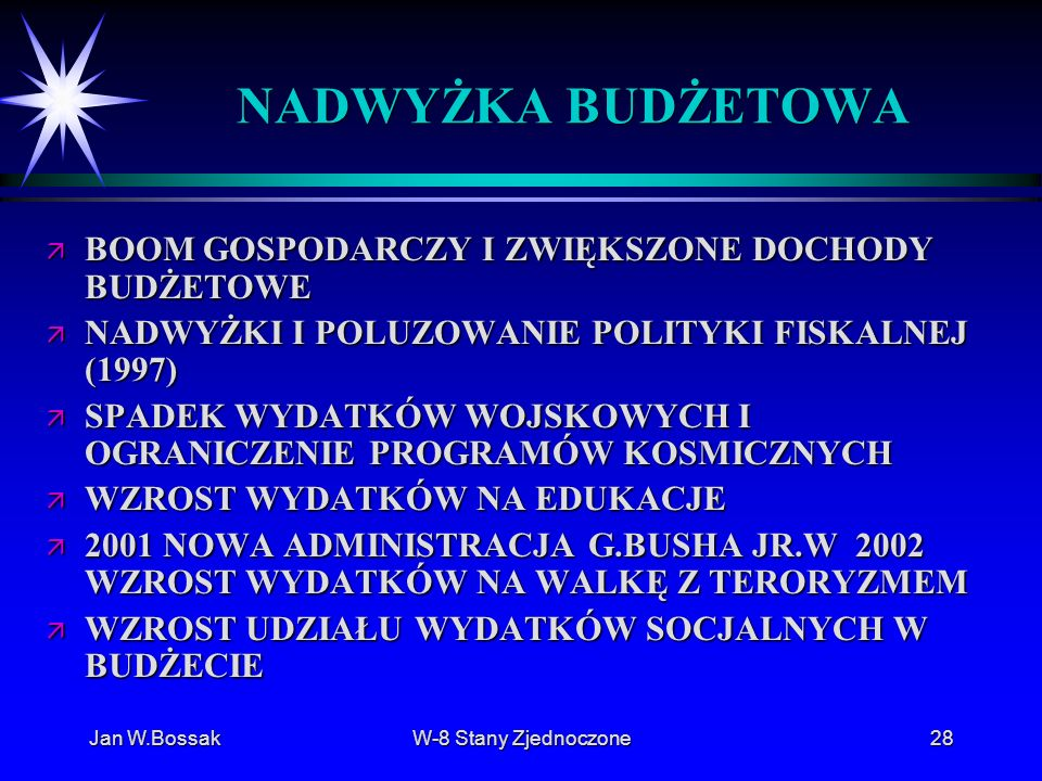 Jan W.BossakW-8 Stany Zjednoczone28 NADWYŻKA BUDŻETOWA ä BOOM GOSPODARCZY I ZWIĘKSZONE DOCHODY BUDŻETOWE ä NADWYŻKI I POLUZOWANIE POLITYKI FISKALNEJ (