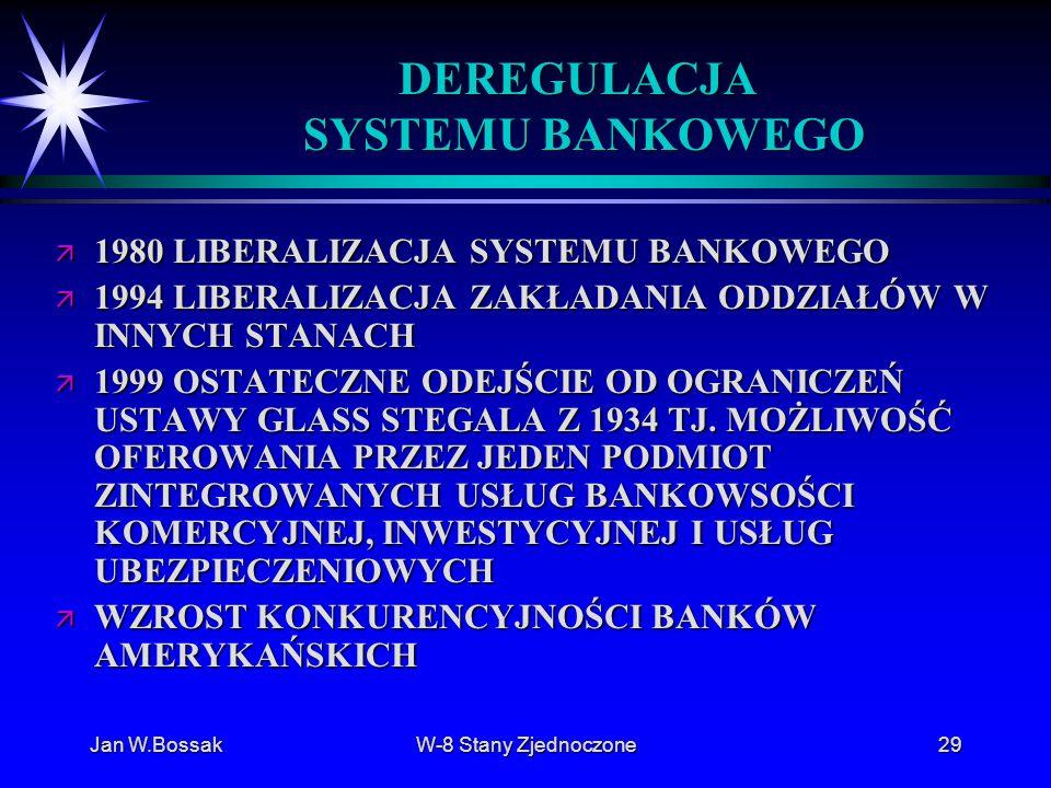 Jan W.BossakW-8 Stany Zjednoczone29 DEREGULACJA SYSTEMU BANKOWEGO ä 1980 LIBERALIZACJA SYSTEMU BANKOWEGO ä 1994 LIBERALIZACJA ZAKŁADANIA ODDZIAŁÓW W I