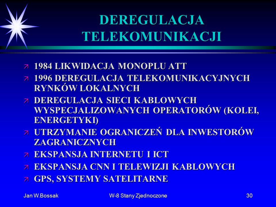 Jan W.BossakW-8 Stany Zjednoczone30 DEREGULACJA TELEKOMUNIKACJI ä 1984 LIKWIDACJA MONOPLU ATT ä 1996 DEREGULACJA TELEKOMUNIKACYJNYCH RYNKÓW LOKALNYCH
