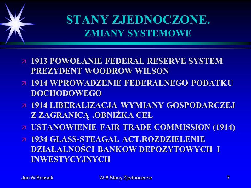 Jan W.BossakW-8 Stany Zjednoczone7 STANY ZJEDNOCZONE. ZMIANY SYSTEMOWE ä 1913 POWOŁANIE FEDERAL RESERVE SYSTEM PREZYDENT WOODROW WILSON ä 1914 WPROWAD