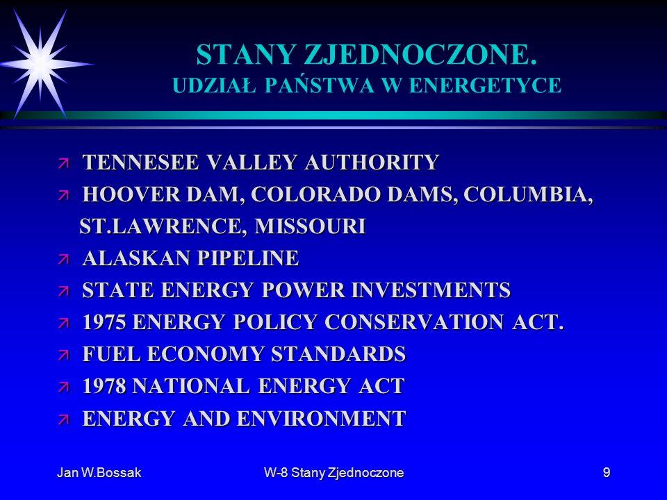 Jan W.BossakW-8 Stany Zjednoczone9 STANY ZJEDNOCZONE. UDZIAŁ PAŃSTWA W ENERGETYCE ä TENNESEE VALLEY AUTHORITY ä HOOVER DAM, COLORADO DAMS, COLUMBIA, S