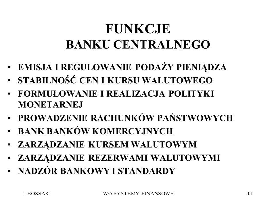 J.BOSSAKW-5 SYSTEMY FINANSOWE11 FUNKCJE BANKU CENTRALNEGO EMISJA I REGULOWANIE PODAŻY PIENIĄDZA STABILNOŚĆ CEN I KURSU WALUTOWEGO FORMUŁOWANIE I REALI