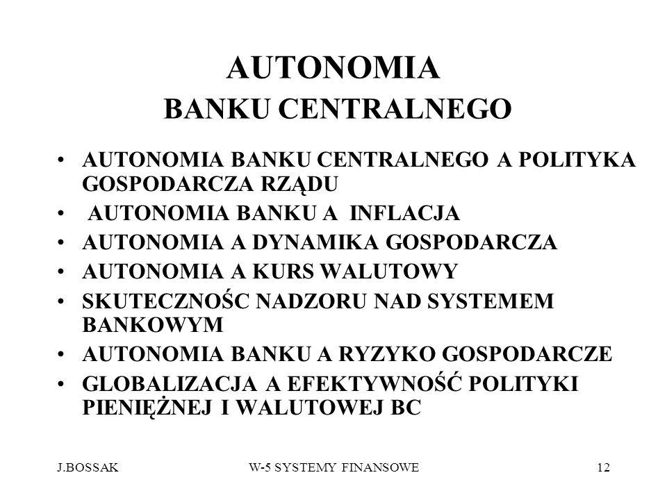 J.BOSSAKW-5 SYSTEMY FINANSOWE12 AUTONOMIA BANKU CENTRALNEGO AUTONOMIA BANKU CENTRALNEGO A POLITYKA GOSPODARCZA RZĄDU AUTONOMIA BANKU A INFLACJA AUTONO