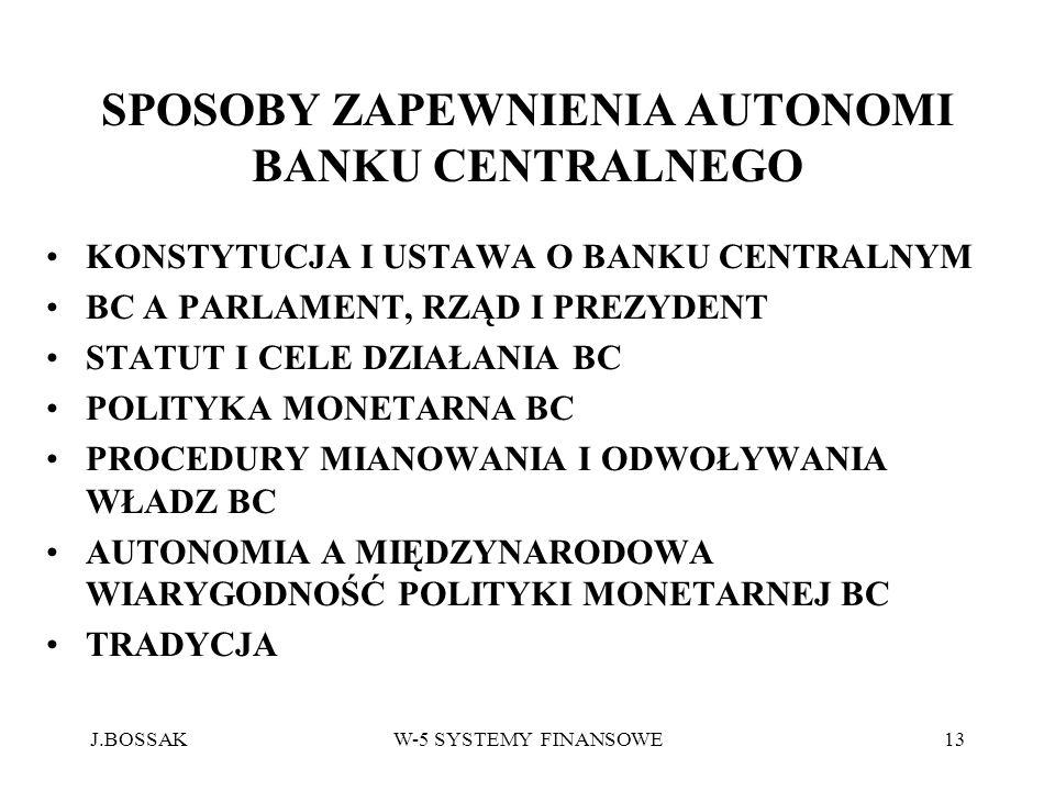 J.BOSSAKW-5 SYSTEMY FINANSOWE13 SPOSOBY ZAPEWNIENIA AUTONOMI BANKU CENTRALNEGO KONSTYTUCJA I USTAWA O BANKU CENTRALNYM BC A PARLAMENT, RZĄD I PREZYDEN