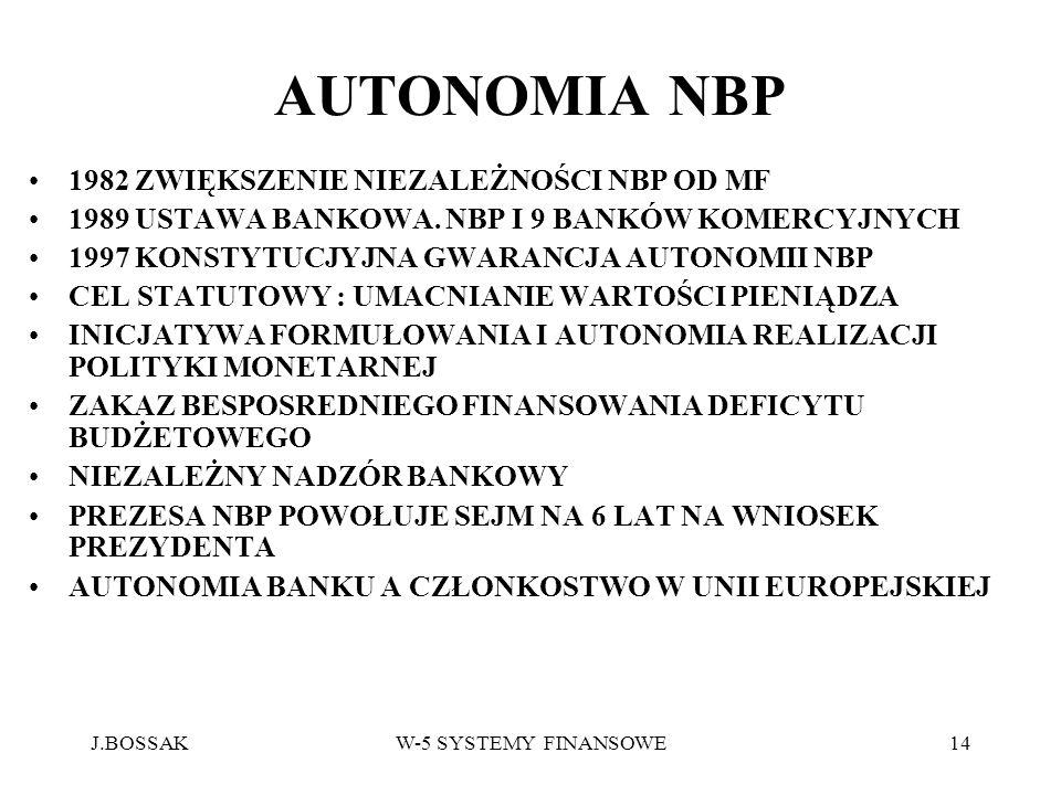 J.BOSSAKW-5 SYSTEMY FINANSOWE14 AUTONOMIA NBP 1982 ZWIĘKSZENIE NIEZALEŻNOŚCI NBP OD MF 1989 USTAWA BANKOWA. NBP I 9 BANKÓW KOMERCYJNYCH 1997 KONSTYTUC