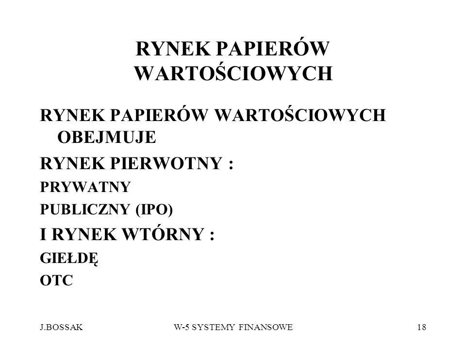 J.BOSSAKW-5 SYSTEMY FINANSOWE18 RYNEK PAPIERÓW WARTOŚCIOWYCH RYNEK PAPIERÓW WARTOŚCIOWYCH OBEJMUJE RYNEK PIERWOTNY : PRYWATNY PUBLICZNY (IPO) I RYNEK
