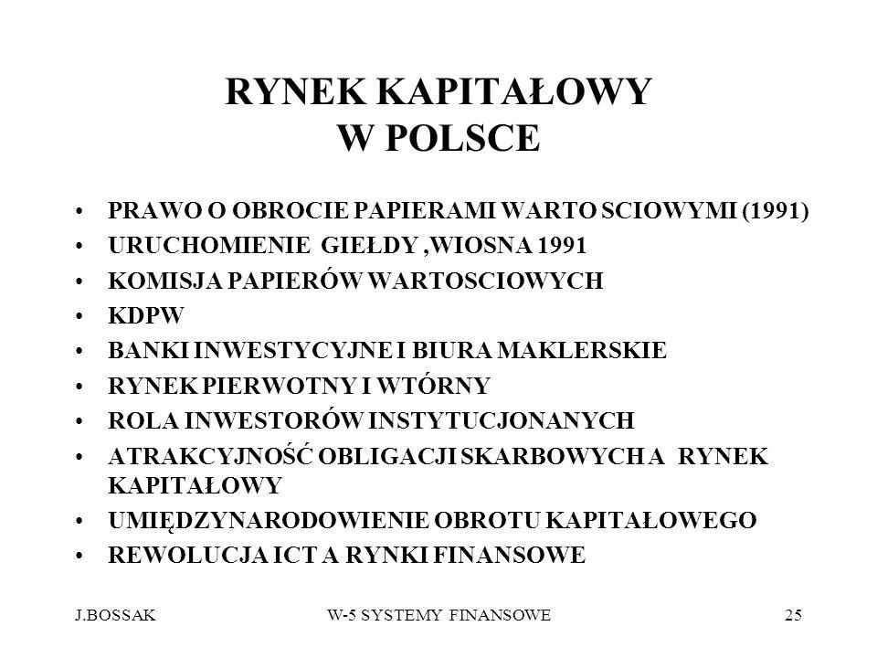 J.BOSSAKW-5 SYSTEMY FINANSOWE25 RYNEK KAPITAŁOWY W POLSCE PRAWO O OBROCIE PAPIERAMI WARTO SCIOWYMI (1991) URUCHOMIENIE GIEŁDY,WIOSNA 1991 KOMISJA PAPI