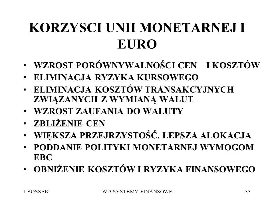 J.BOSSAKW-5 SYSTEMY FINANSOWE33 KORZYSCI UNII MONETARNEJ I EURO WZROST PORÓWNYWALNOŚCI CEN I KOSZTÓW ELIMINACJA RYZYKA KURSOWEGO ELIMINACJA KOSZTÓW TR