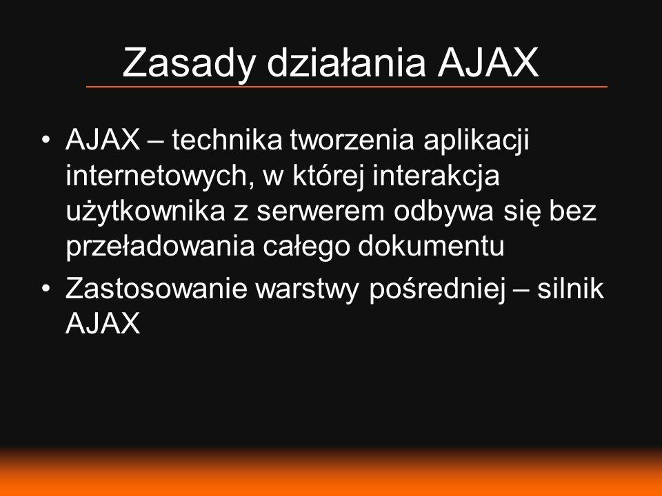 Zasady działania AJAX AJAX – technika tworzenia aplikacji internetowych, w której interakcja użytkownika z serwerem odbywa się bez przeładowania całego dokumentu Zastosowanie warstwy pośredniej – silnik AJAX