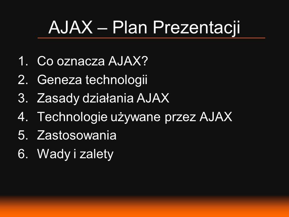 AJAX – Plan Prezentacji 1.Co oznacza AJAX? 2.Geneza technologii 3.Zasady działania AJAX 4.Technologie używane przez AJAX 5.Zastosowania 6.Wady i zalet