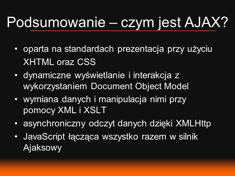 Podsumowanie – czym jest AJAX? oparta na standardach prezentacja przy użyciu XHTML oraz CSS dynamiczne wyświetlanie i interakcja z wykorzystaniem Docu