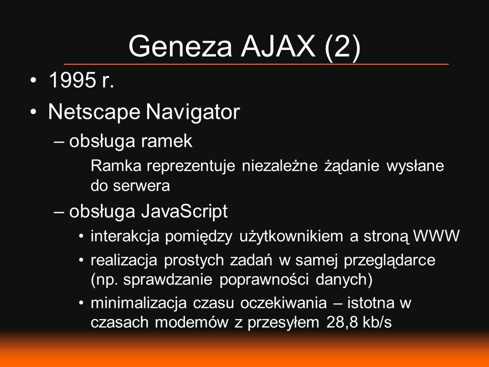 Geneza AJAX (2) 1995 r. Netscape Navigator –obsługa ramek Ramka reprezentuje niezależne żądanie wysłane do serwera –obsługa JavaScript interakcja pomi