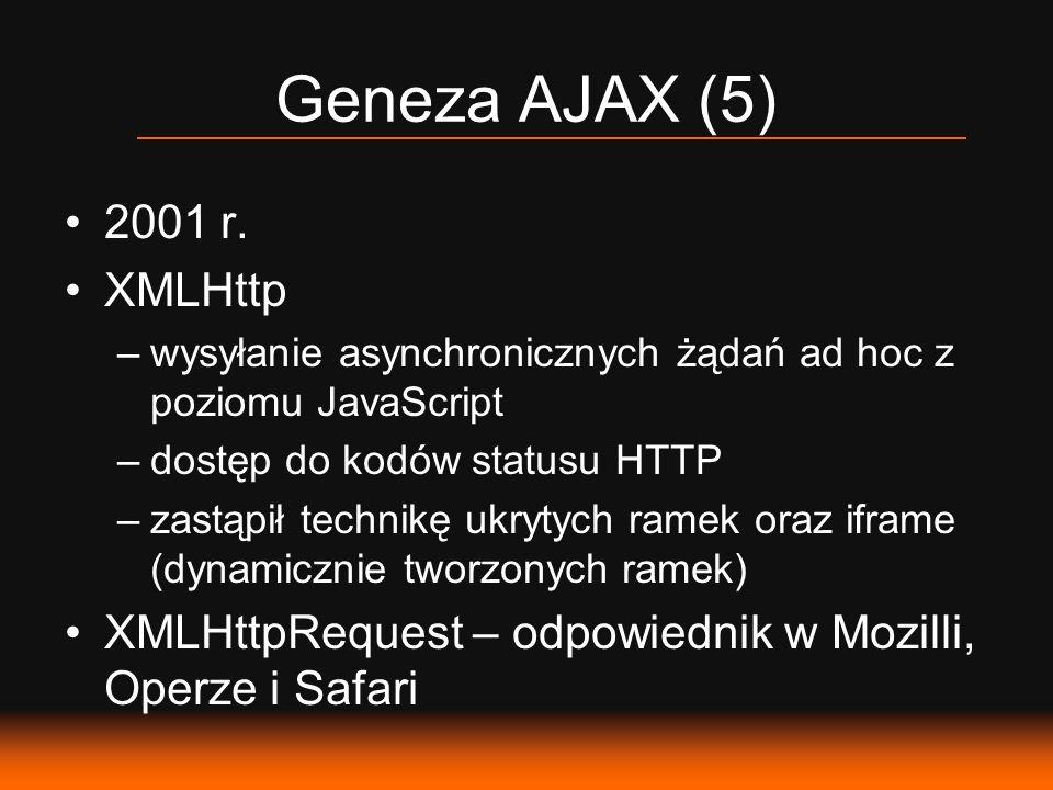 Geneza AJAX (5) 2001 r. XMLHttp –wysyłanie asynchronicznych żądań ad hoc z poziomu JavaScript –dostęp do kodów statusu HTTP –zastąpił technikę ukrytyc