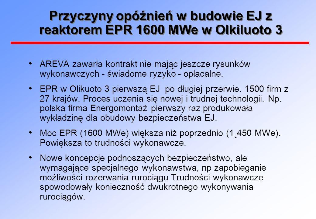Przyczyny opóźnień w budowie EJ z reaktorem EPR 1600 MWe w Olkiluoto 3 AREVA zawarła kontrakt nie mając jeszcze rysunków wykonawczych - świadome ryzyk