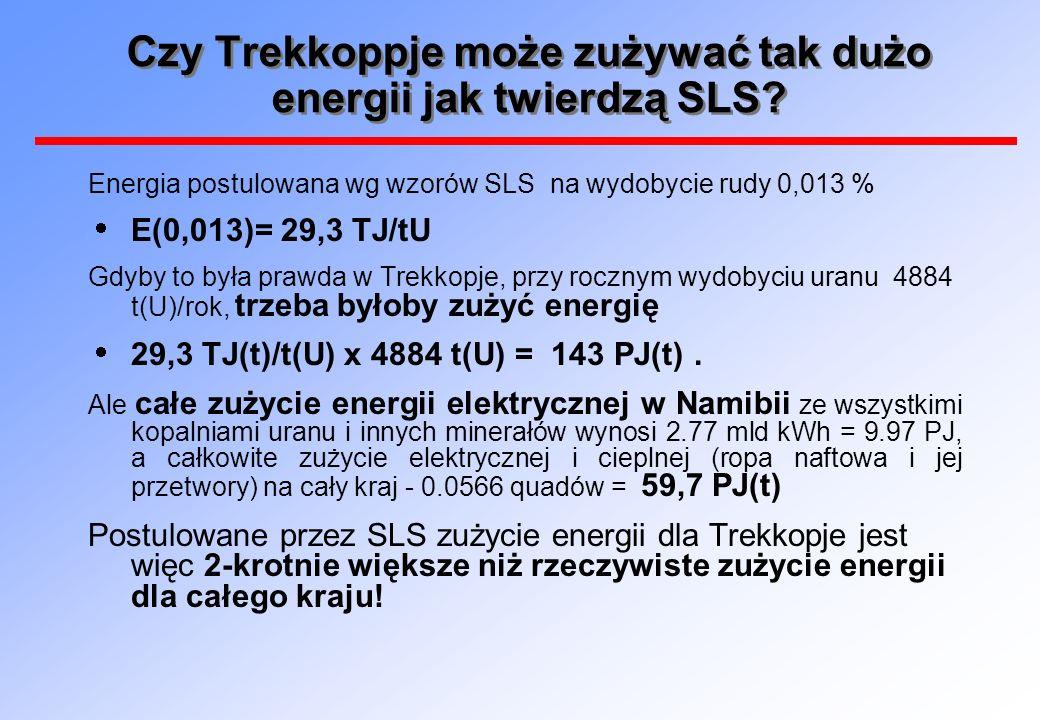 Czy Trekkoppje może zużywać tak dużo energii jak twierdzą SLS? Energia postulowana wg wzorów SLS na wydobycie rudy 0,013 % E(0,013)= 29,3 TJ/tU Gdyby