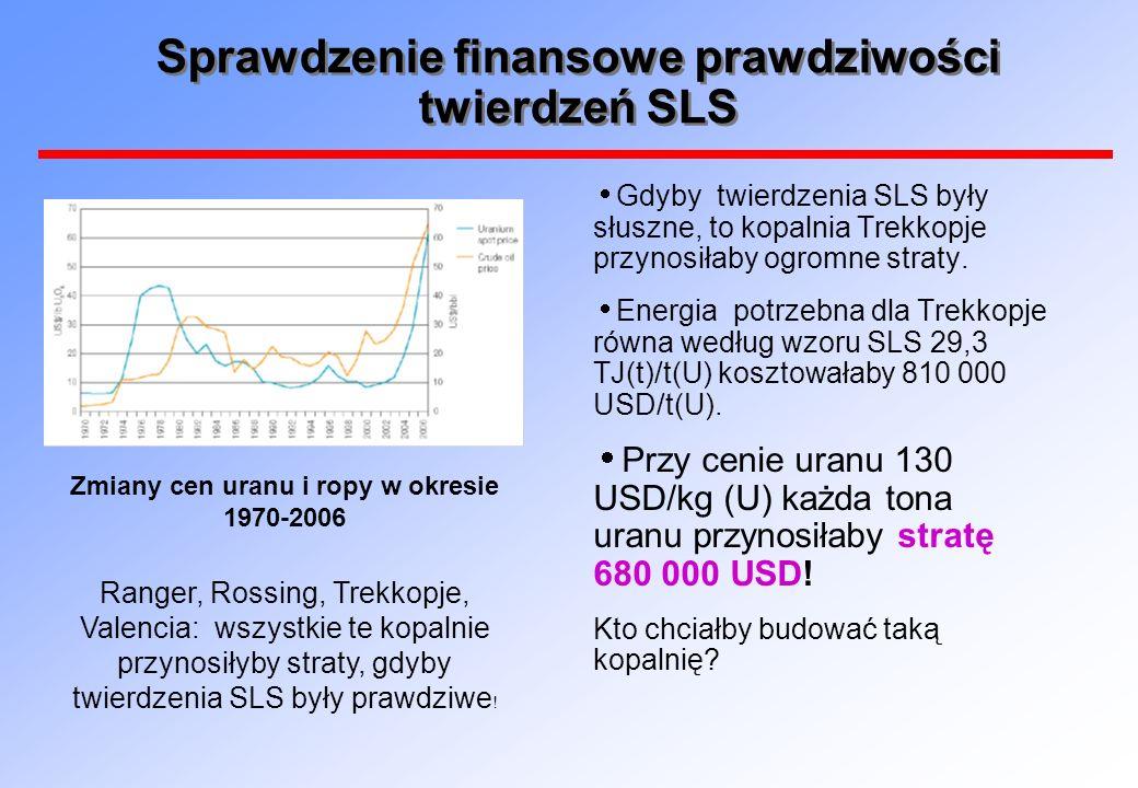 Sprawdzenie finansowe prawdziwości twierdzeń SLS Gdyby twierdzenia SLS były słuszne, to kopalnia Trekkopje przynosiłaby ogromne straty. Energia potrze