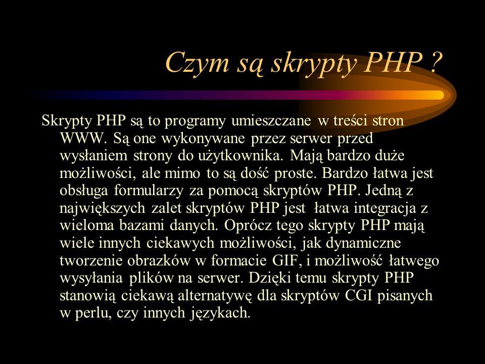 Czym są skrypty PHP . Skrypty PHP są to programy umieszczane w treści stron WWW.