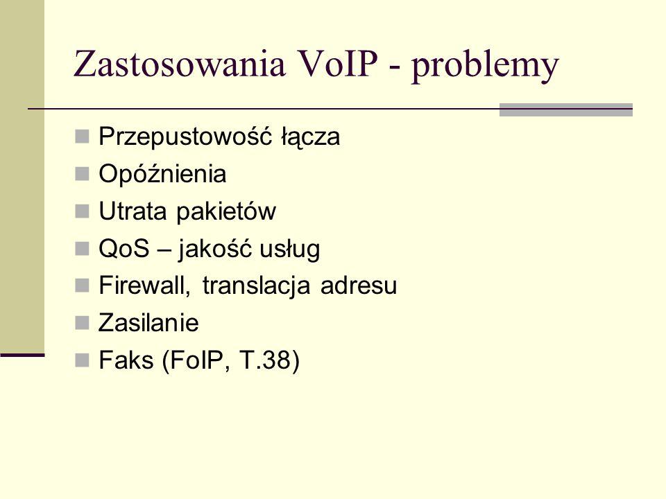 Zastosowania VoIP - problemy Przepustowość łącza Opóźnienia Utrata pakietów QoS – jakość usług Firewall, translacja adresu Zasilanie Faks (FoIP, T.38)