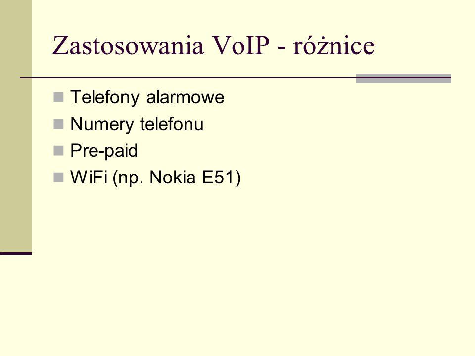 Zastosowania VoIP - różnice Telefony alarmowe Numery telefonu Pre-paid WiFi (np. Nokia E51)