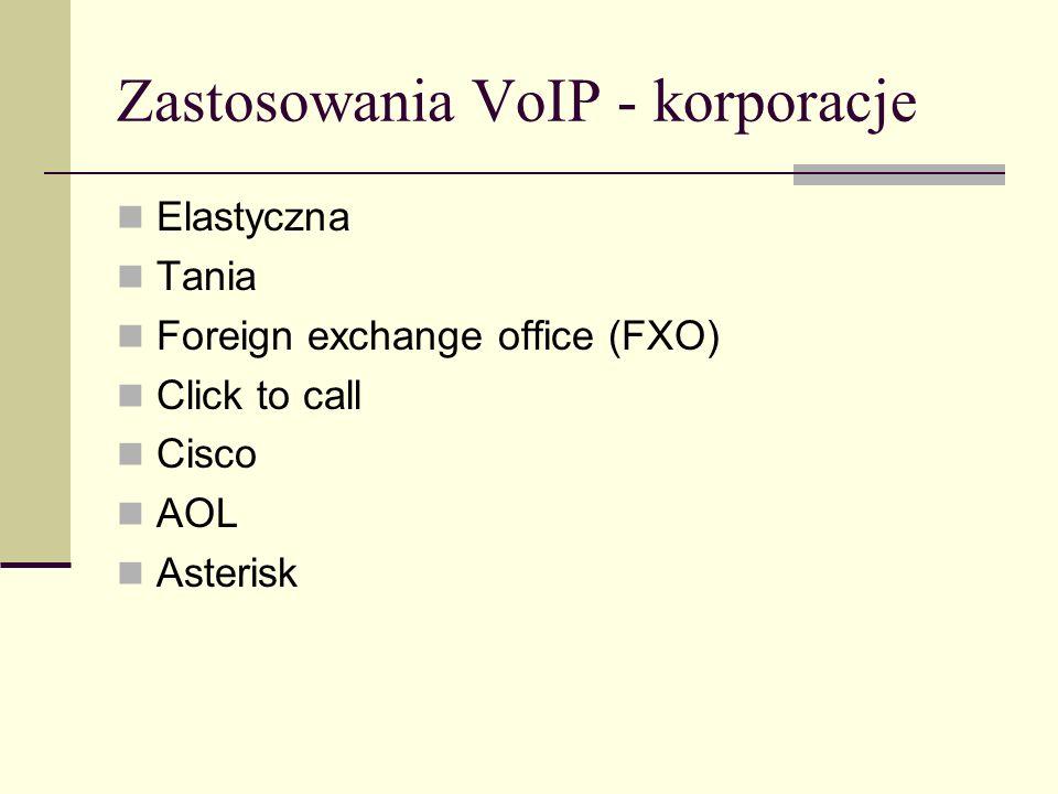 Zastosowania VoIP - korporacje Elastyczna Tania Foreign exchange office (FXO) Click to call Cisco AOL Asterisk