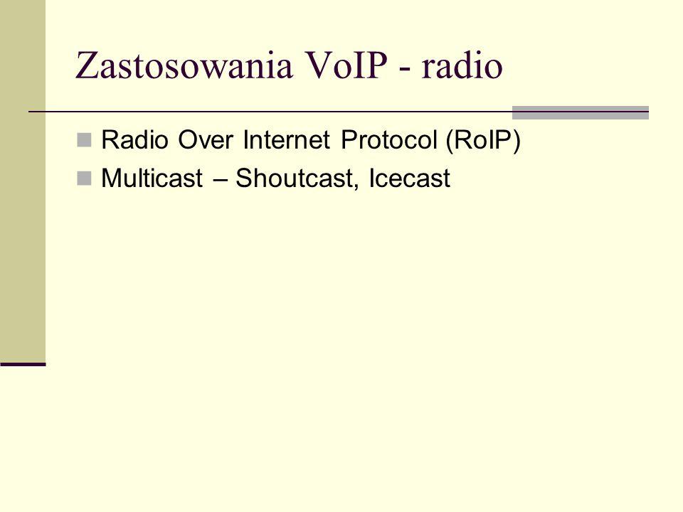 Zastosowania VoIP - radio Radio Over Internet Protocol (RoIP) Multicast – Shoutcast, Icecast