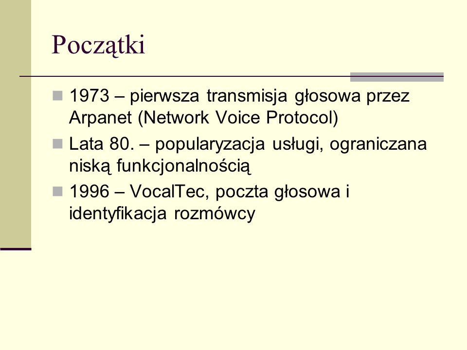 Początki 1973 – pierwsza transmisja głosowa przez Arpanet (Network Voice Protocol) Lata 80. – popularyzacja usługi, ograniczana niską funkcjonalnością