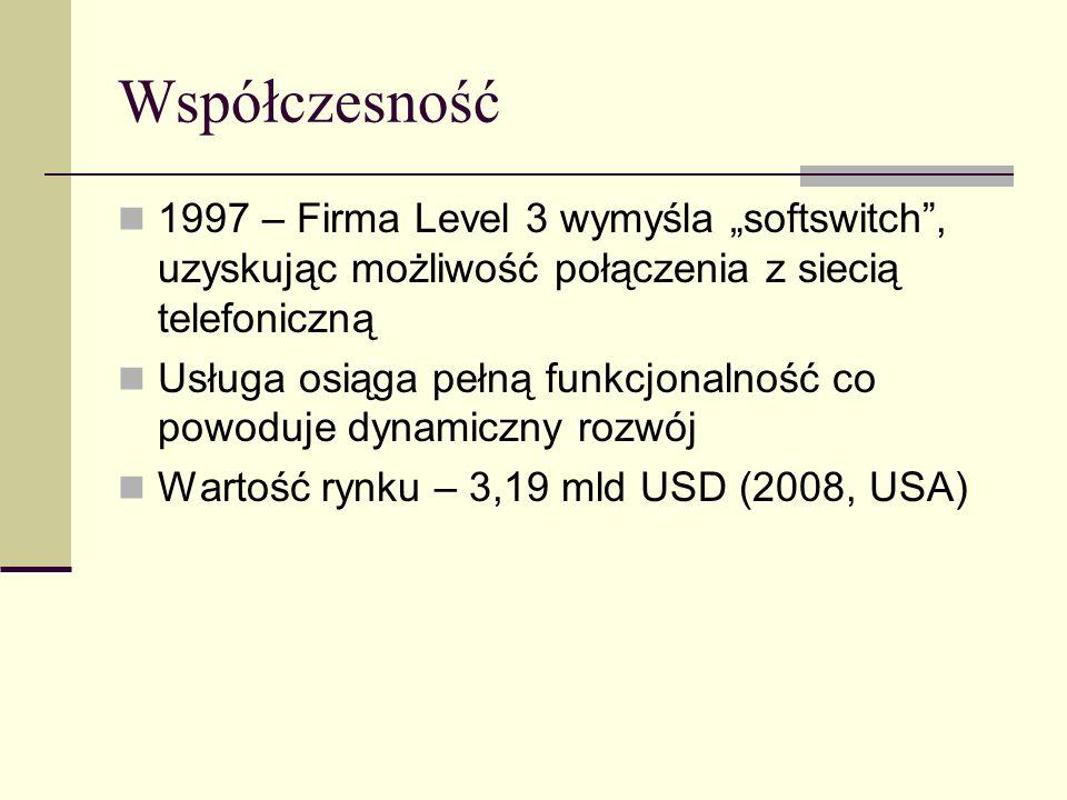 Współczesność 1997 – Firma Level 3 wymyśla softswitch, uzyskując możliwość połączenia z siecią telefoniczną Usługa osiąga pełną funkcjonalność co powo