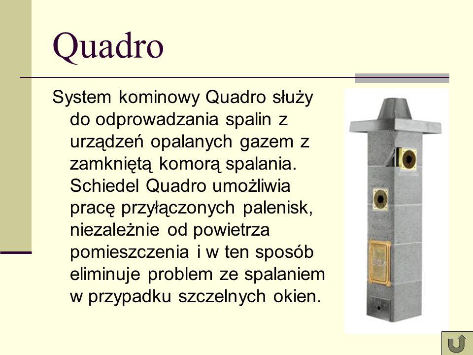 Quadro System kominowy Quadro służy do odprowadzania spalin z urządzeń opalanych gazem z zamkniętą komorą spalania. Schiedel Quadro umożliwia pracę pr